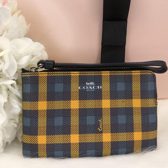 Coach Handbags - Coach NWT Blue and Yellow Plaid Wristlet